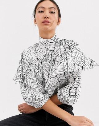 ASOS linear print frill top
