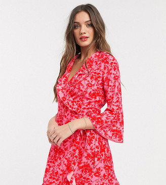 Outrageous Fortune Petite ruffle wrap dress with fluted sleeve in red floral print