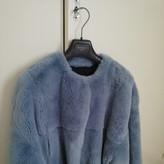 Yves Salomon Blue Rabbit Leather Jacket for Women