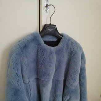 Yves Salomon Blue Rabbit Leather Jacket for Women