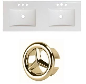 "American Imaginations Ceramic 59"" Double Bathroom Vanity Top Faucet Mount: 4"" Centers"