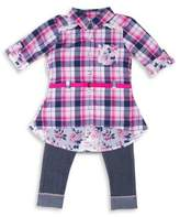 Little Lass Baby's Plaid Shirt and Elasticized Leggings Set