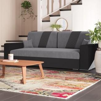 "Brayden Studio Egan 94"" Wide Square Arm Sofa Bed Fabric: Gray"