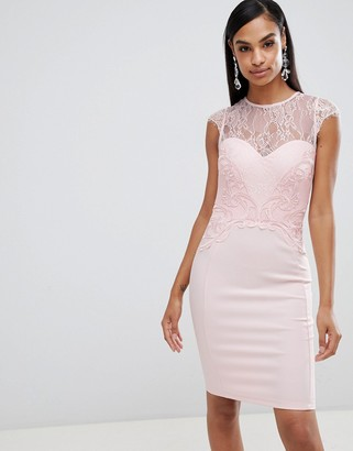Lipsy lace applique bodycon dress-Cream