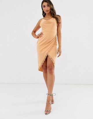 Laced In Love cowl neck midi wrap scuba dress in warm beige