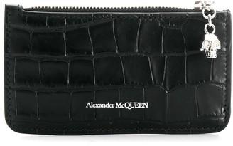 Alexander McQueen crocodile embossed cardholder wallet