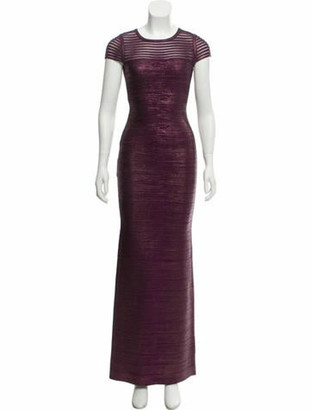 Herve Leger Mesh Stripe Dress Purple