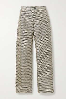 Asceno ASCENO - Net Sustain Antibes Cropped Printed Silk-satin Pajama Pants - Cream