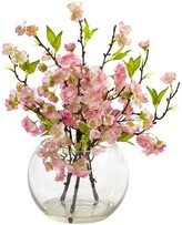 Nearly Natural Pink Cherry Blossom in Large Vase