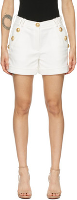 Balmain White Cotton Low-Rise Shorts