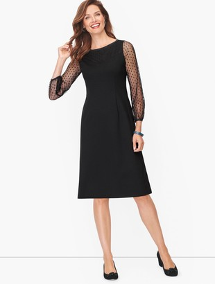 Talbots Ponte Mesh Dot Shift Dress