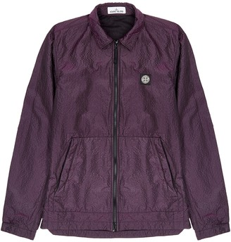 Stone Island Purple seersucker overshirt