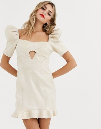Skylar Rose mini dress with puff sleeves and cross front detail