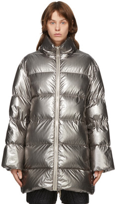 Rick Owens Silver Moncler Edition Down Cyclopic Coat