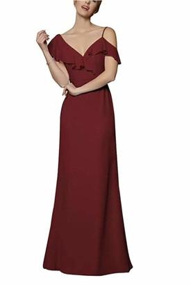 Leader of the Beauty Women's Blush Ruffle One Shoulder Chiffon Bridesmaid Dresses Wedding Party Formal Dress UK14