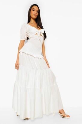 boohoo Tie Detail Tiered Hem Maxi Dress