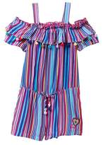 Betsey Johnson Multi Stripe Romper with Pompom Trim (Toddler Girls)