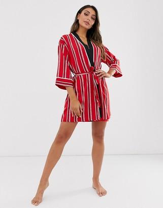 DKNY logo stripe robe in cherry stripe