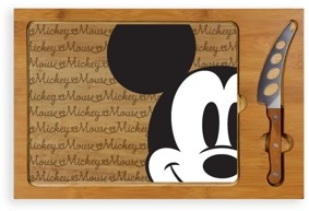 Picnic Time Toscana by Disney's Mickey Mouse Icon Glass Top Cutting Board & Knife Set