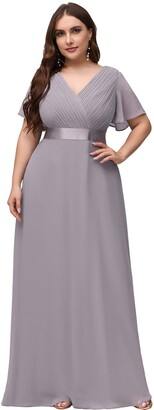 Ever Pretty Ever-Pretty Women's Long Chiffon Double V Neck with Short Sleeves A Line Wedding Dresses White UK22 Plus Size