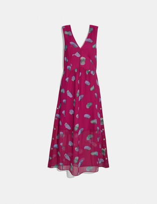 Coach Sleeveless Floral V-Neck Dress