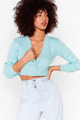 Nasty Gal Womens Make Knit Happen Cropped Cardigan - Blue - S, Blue