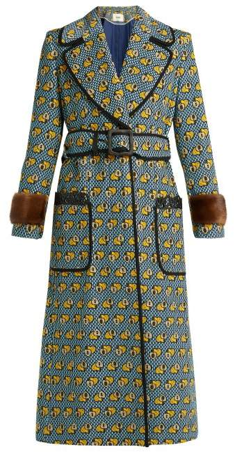Fendi Heart Print Fur Trimmed Cotton Blend Coat - Womens - Multi