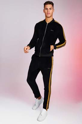 BoohoomanBoohooMAN Mens Black MAN Velour Bomber Tracksuit With Gold Tape, Black