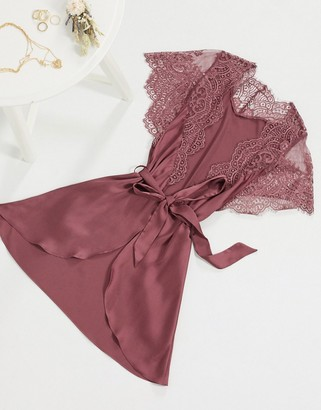 Hunkemoller lace trim satin kimono in pink