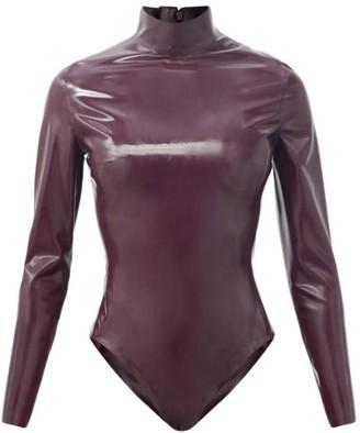 Saint Laurent High-neck Latex Bodysuit - Burgundy