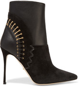 Sergio Rossi Embellished leather and suede boots