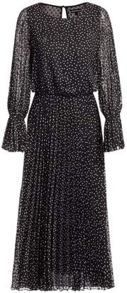 Emporio Armani Polka Dot Pleated Tea Dress