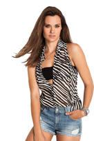 GUESS Zebra Hi/Low Slit Back Top