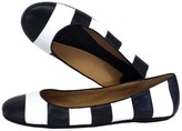 Kate Spade Isla Navy & White Striped Leather Flats