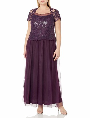 Le Bos Women's Size Mock 2 PC Embroided Long Gown Plus
