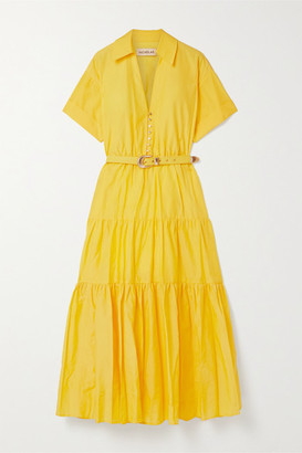Nicholas Amina Cotton And Silk-blend Maxi Dress - Yellow