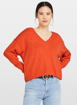 Miss Selfridge Orange V-Neck Stretch Knitted Jumper
