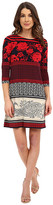 Donna Morgan 3/4 Sleeve Printed Jersey Shift Dress