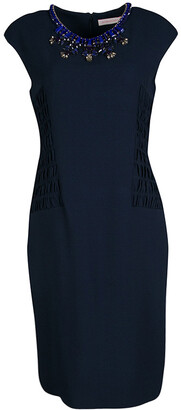 Matthew Williamson Navy Blue Smocked Waist Detail Embellished Neck Sleeveless Dress M