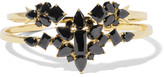 Noir Set of two gold-tone cubic zirconia cuffs