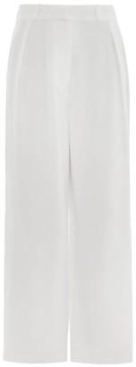 ASCENO Rivello High-rise Pleated Silk Trousers - White