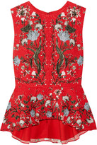 Erdem Queenie Floral-print Cloqué Peplum Top - Red