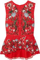 Erdem Queenie Floral-print Cloqué Peplum Top - UK14