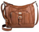 Bolo Women's Faux Leather Crossbody Handbag with Zip Closure - Brown