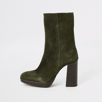 River Island Khaki suede platform heel boots