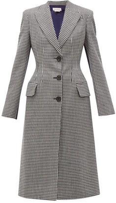 Alexander McQueen Houndstooth Hourglass Wool Coat - Womens - Black White