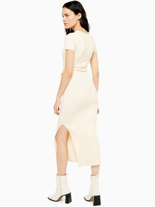 Topshop Wide Belt Ribbed Column Dress - Ecru