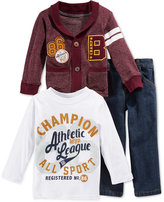Nannette Little Boys' 3-Piece Cardigan, T-Shirt & Pants Set