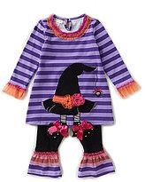 Bonnie Jean Bonnie Baby Baby Girls Newborn-24 Months Halloween Striped Witch Hat Dress & Solid Leggings Set