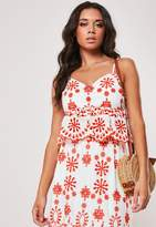 Missguided White Co Ord Broderie Anglaise Peplum Cami Top